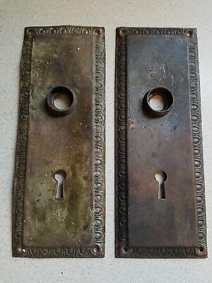 antique door plate with key hole brass/copoer metal