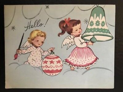 Little Girls Angels Heavenly Clouds Painting Ornaments Vtg XMAS Card UNUSED