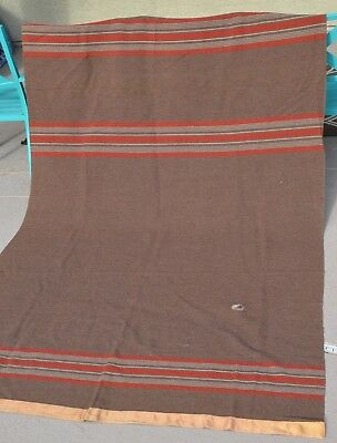 Vintage Wool Trade Blanket Large Size Green Red White Early Leather Repair