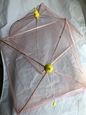 Vintage Picnic Food Umbrella Tent Covers Pink Mesh Mosquito Fly Net Foldable