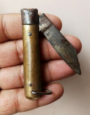 Antique Old Rare Handmade Unique Iron & Brass Small Knife India