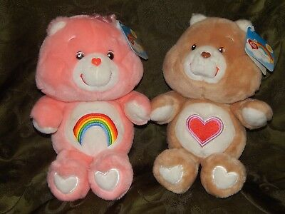 2 - 20Th Anniversary 13 Inch Care Bears - Cheer + Tenderheart - Preowned W Tags