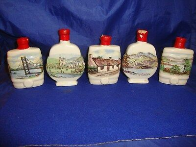 5 Real West Country Cream British Sherry Miniature Flask Decanter Empty