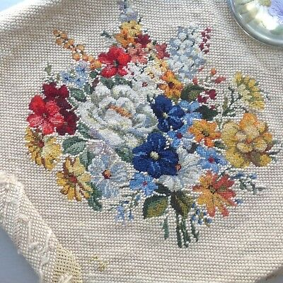 Vintage Tapestry Woolwork Picture - Delightful Bouquet Of Flowers - Unframed