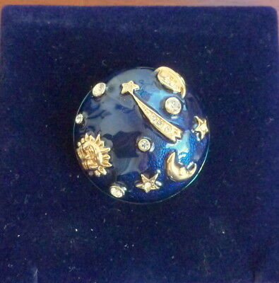Pretty Vintage Enamet Sun Moon And Stars Brooch Set With Clear Stones