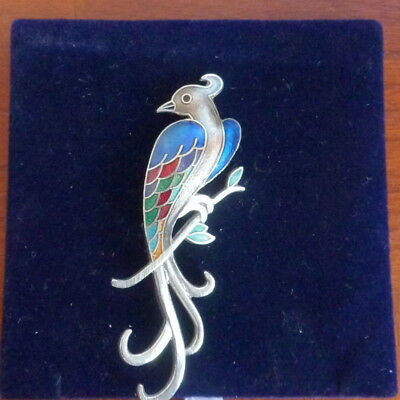 Gorgeous Vintage Bird Brooch With Enamel Detail
