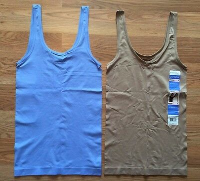 NWT Women's ELLEN TRACY Medium Blue Nude 2 Pc Reversible Tank Top Camisole Small