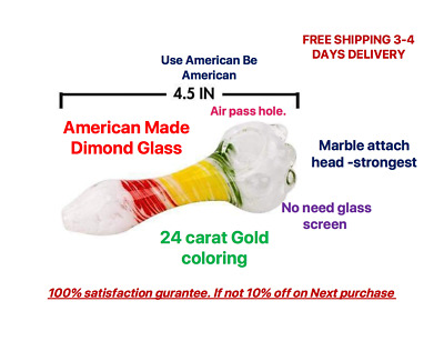 """Collectible Hand Made Tobacco Glass Pipe 4"""" Rasta White  Herb Smoking Bowl Pipes"""