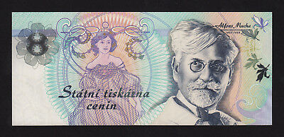 CZECH TEST NOTE - OFFICIAL STATE PRINTING Alphonse Mucha -  UNC !!