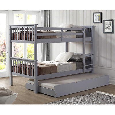 Walker Edison Furniture Co. Solid Wood Twin Bunk Bed with Trundle Bed - Grey