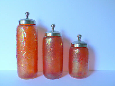 Set 3 Antique Victorian Marigold Carnival Glass Apothecary Jars Lidded Canisters
