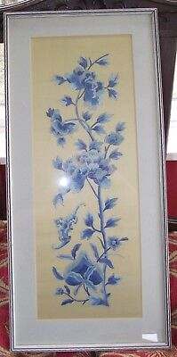Vintage Chinese Silk Embroidery Picture Blue Gold Flowers Framed
