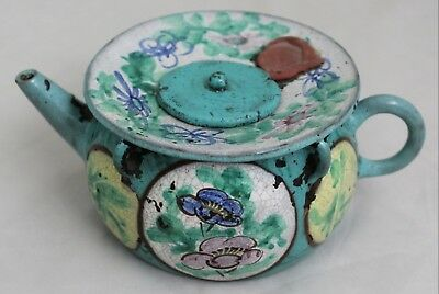 Old Chinese Yixing Enamel Wide Rim Lidded Teapot Floral Calligraphy Decoration