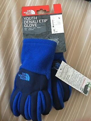 THE NORTH FACE DENALI Thermal ETIP Gloves  Youth Large Blue New
