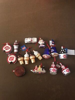 Huge RARE Vintage Dairy Queen Ice Cream Christmas Ornament Lot Of 16  Dept 56