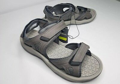 9aa3315c5f18 NEW Mens EDDIE BAUER Gray Hank Genuine Leather Strapped Sandals Shoes 13  Medium