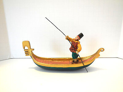 Venetian Gondola, with Gondolier, Christmas Ornament or Decor, from Europe
