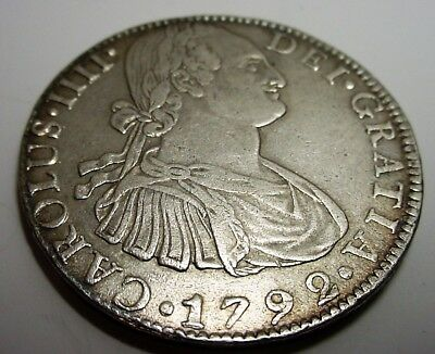 8 Reales Silver Coin 1792 FM Mexico No Reserve