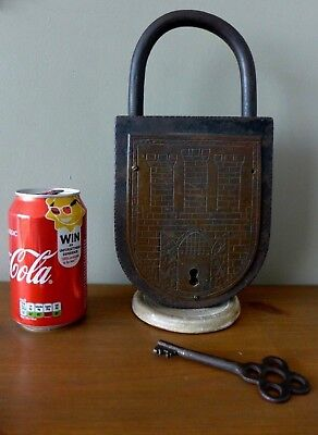 Antique Very Large Padlock With One Key, Working Order, Castle Bronze Art Design