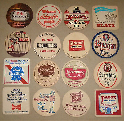 "16 Vintage All Different  3 1/2"" Beer Coasters Free USA Shipping"