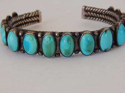 Antique Navajo Indian Old Pawn Turquoise And Silver Bracelet.