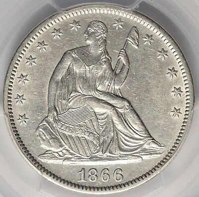 1866-S Seated Liberty Half Dollar With Motto PCGS AU55 Scarcer Date!  #AVA0918