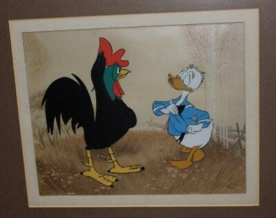 Vintag Donald Duck & Rooster Animation Cel Disney Disneyland Art Corner