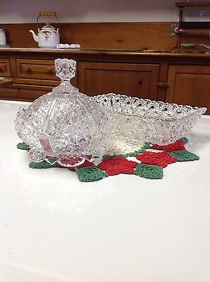 Early American Pattern Glass Butter Dish And Bread Tray