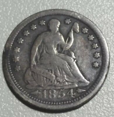1854 Seated Liberty Half Dime <> VF Details