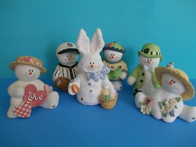 Lot of 6 Sarahs Attic SnoWonders  Snowman monthly figurines~no boxes~great shape