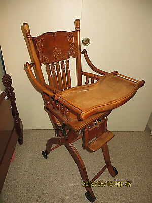 Antique Wood High Chair For Baby Lift Up Tray Collapsible Carved