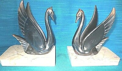 Art Deco Bookends Marble And Bronzed Spelter Swans French