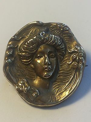 Vintage Art Nouveau Stamped Brass Pin Brooch Gibson Girl