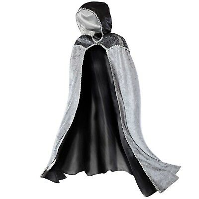 Teetot Women's Silver Cape with Black Collar & Hood