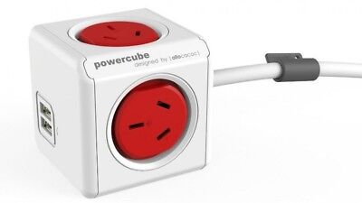 Allocacoc PowerCube 4 Power Outlets & 2 USB, 3m Extended Cable, Red 5404/AUEUPCR