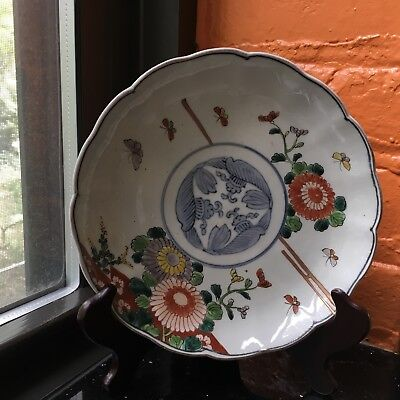 Vintage Antique Japanese  Hand Painted Imari Plate Butterflies and  flowers