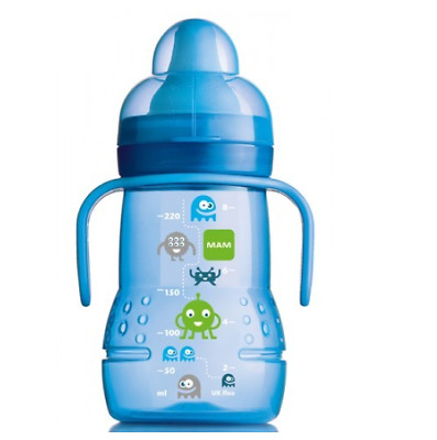 MAM Trainer Baby Transition Bottle Soft Spout Handles 220ml Sippy Cup Blue