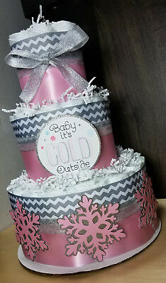 3 Tier Diaper Cake - Baby it's Cold Outside Theme Pink and Silver Snowflakes