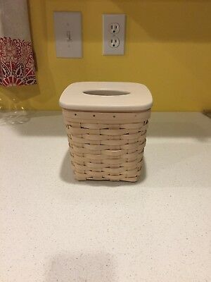 Longaberger White Washed Tall Tissue Basket With Lid