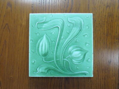 An English Art Nouveau Tile- Impressed Majolica - Fine Condition