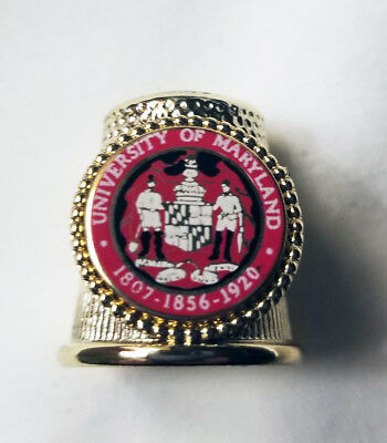 Vintage Metal UNIVERSITY OF MARYLAND Thimble - Collectors Club - In Box