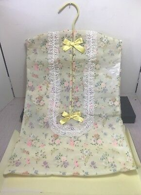 VTG Nursery Baby Yellow floral Diaper Stacker Holder Organizer Lace Ribbon 1960s