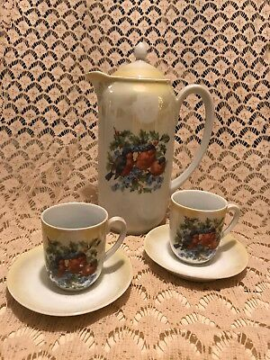 Birds Holly Forget Me Nots Chocolate Pot Set Bavarian