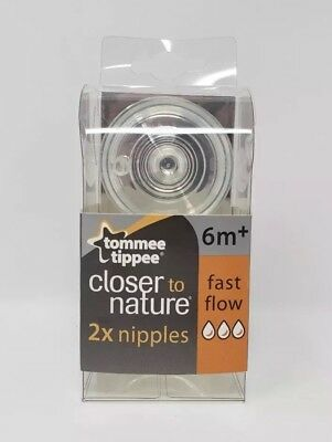 Tommee Tippee Closer To Nature Fast Flow Nipples 6m+ - 2 CT