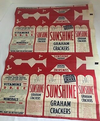 Vintage 1950's Sunshine Biscuit Wax Paper--RARE! Free Shipping