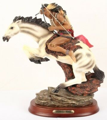 """Resin MOUNTED PLAINS INDIAN """"N. American Collection"""" 10 1/4"""" Tall"""