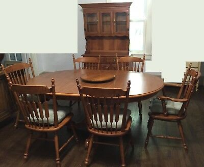 Vintage Tell City Dining Room Set~Table~6 Chairs~Hutch~Hard Rock Maple P/U ATL