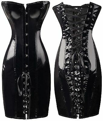 Latex Faux Wet Look Glossy Black Corset Dress Lace Up Back Clasp Front Boned