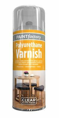 Paint Factory  Ultra-Tough Polyurethane Clear Varnish Aerosol Spray Paint Glo...