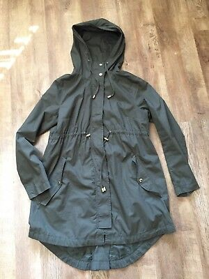 defbce9ef0888 womens long khaki maternity jacket with hood h m size s excellent condition